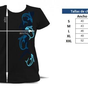 Camiseta Tiburones Tribales Chica - tabla de tallas