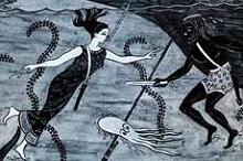 Los griegos Cyana y Scyllis con tubo y cuchillo