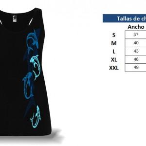 Camiseta Tirantes Tiburones Tribales - tabla de tallas