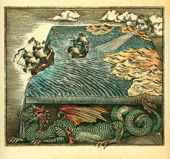 Mapa fantástico de una tierra plana --- Image by © Antar Dayal/Illustration Works/Corbis